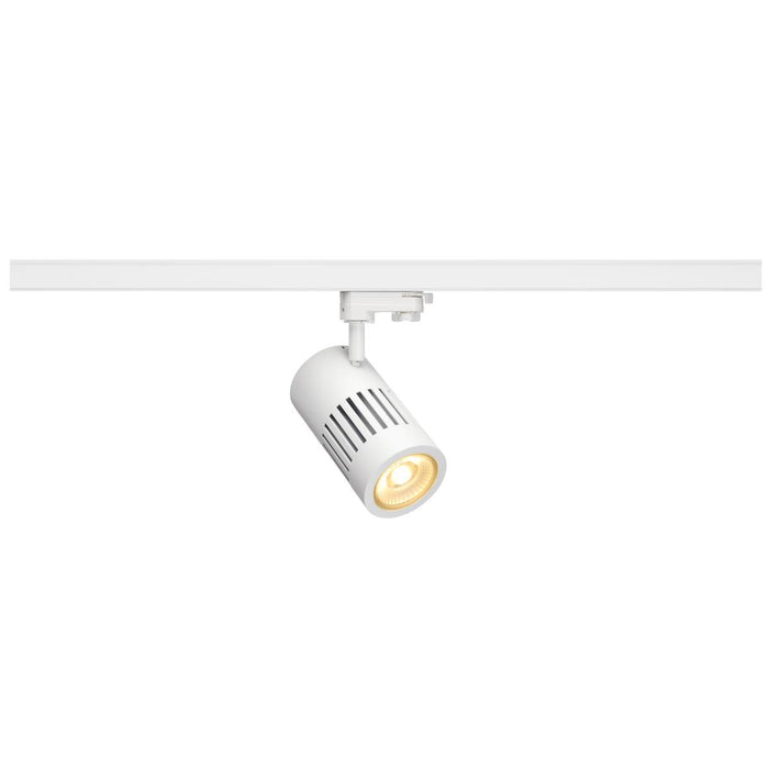 STRUCTEC LED spot for 3-circuit 240V track, 30W, 3000K, 60°, white, incl. 3-circuit adapter
