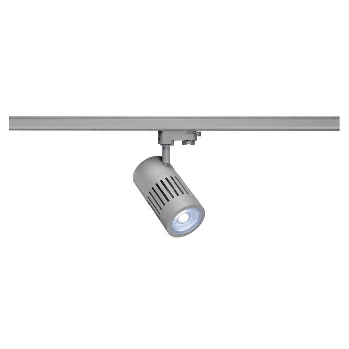 STRUCTEC LED spot for 3-circuit high-voltage track, 30W, 4000K, silver-grey, 36°, incl. 3-circuit adapter