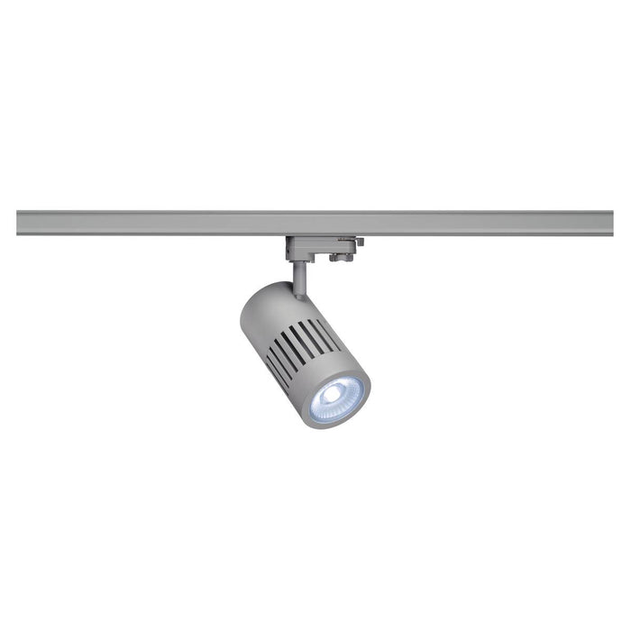 STRUCTEC LED spot for 3-circuit high-voltage track, 30W, 4000K, silver-grey, 60°, incl. 3-circuit adapter