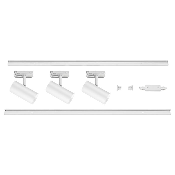 1 Circuit Track Light System NOBLO SPOT SET 2700K white, including three spotlights, two 1m racks, one feed-in and one long connector