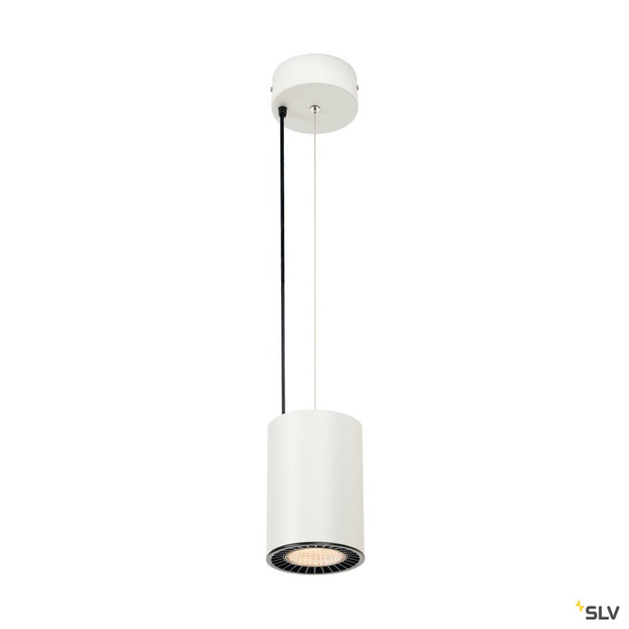 SUPROS PD Indoor LED pendant, round, white, 3000K, 60° reflector, CRI90, 2600lm
