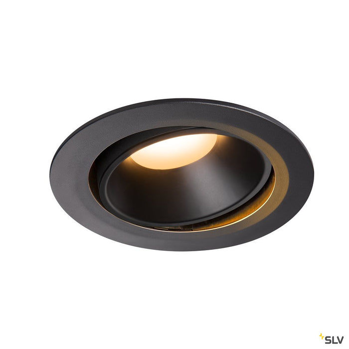 NUMINOS DL XL, Indoor LED recessed ceiling light black/black 2700K 20° gimballed, rotating and pivoting