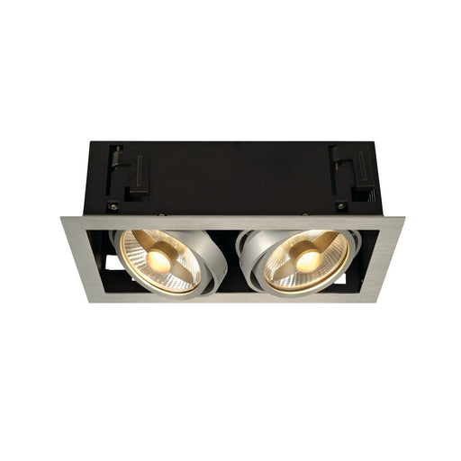 KADUX 2 ES111 downlight, square , alu brushed, max. 2x50W
