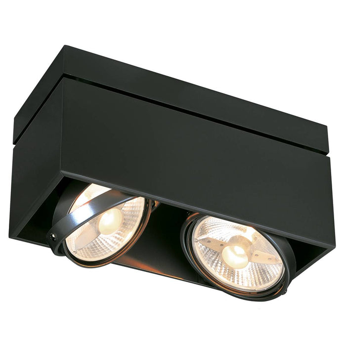 SLV SLV 117110 KARDAMOD SURFACE SQUARE ES111 DOUBLE ceiling light, square, black, 2xGU10, max. 2x75W 4024163149761 117110