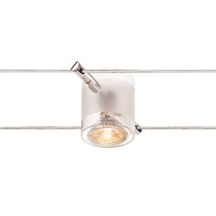 COMET, cable luminaire for TENSEO low-voltage cable system, QR-C51, chrome, semi-frosted glass