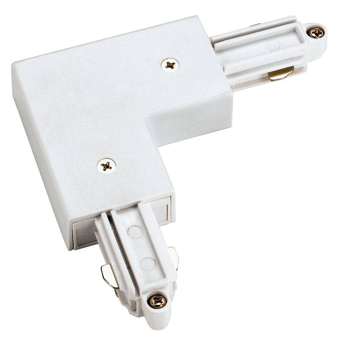 Corner connector for 1-circuit track, surface-mounted, white , outer earth