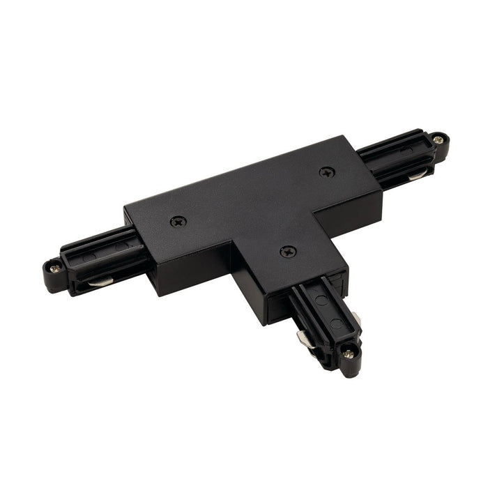 T-connector for 1-circuit track, surface-mounted, black, earth left