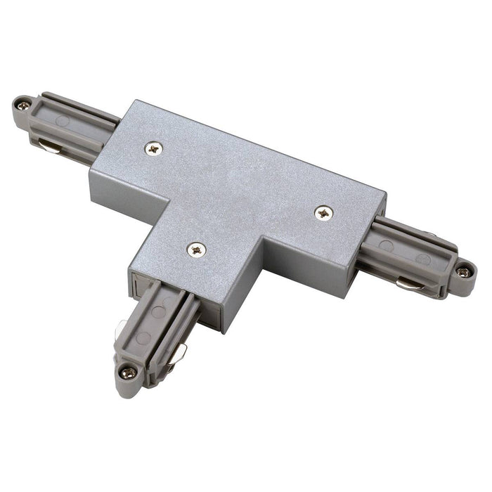 T-connector for 1-circuit track, surface-mounted, silver-grey, earth left