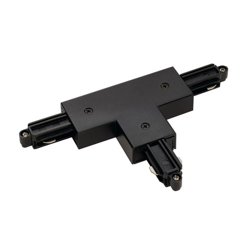 T-connector for 1-circuit track, surface-mounted, black, earth right