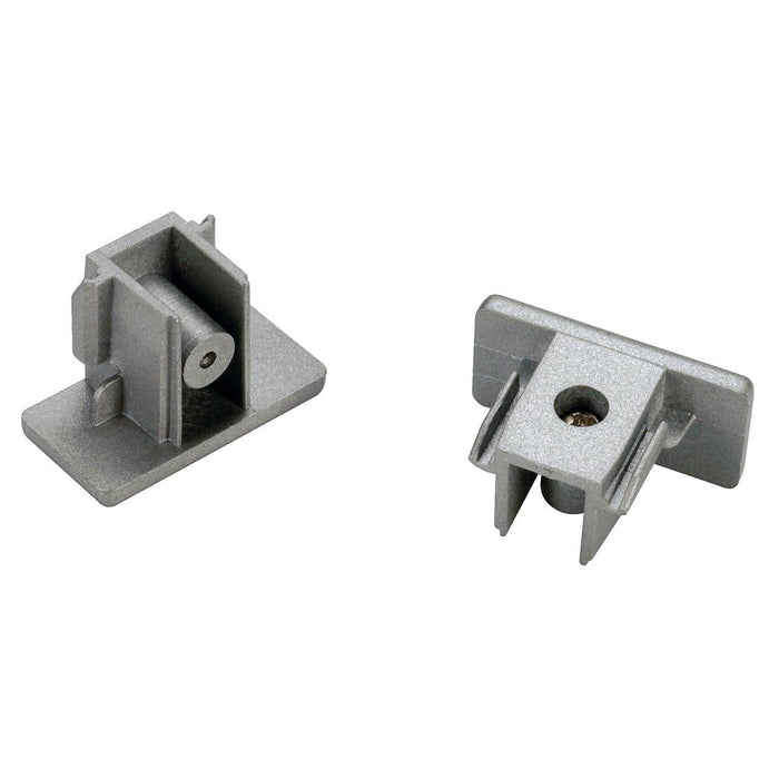 End caps for 1-circuit track, surface-mounted version , silver-grey
