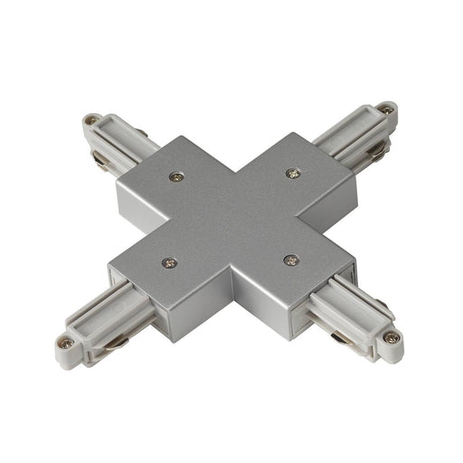 X-connector for 1-circuit 240V track, surface-mounted version, silver-grey