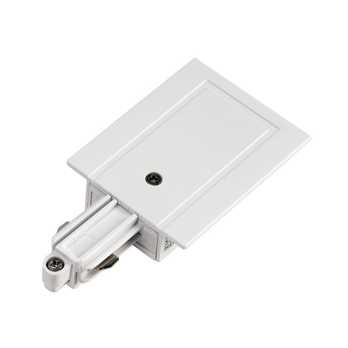 Feed-in for 1-circuit track, recessed version, white, earth left