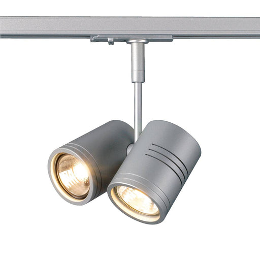 BIMA II lamp head, silver-grey , 2x GU10, max. 2x50W, incl. 1-circuit adapter