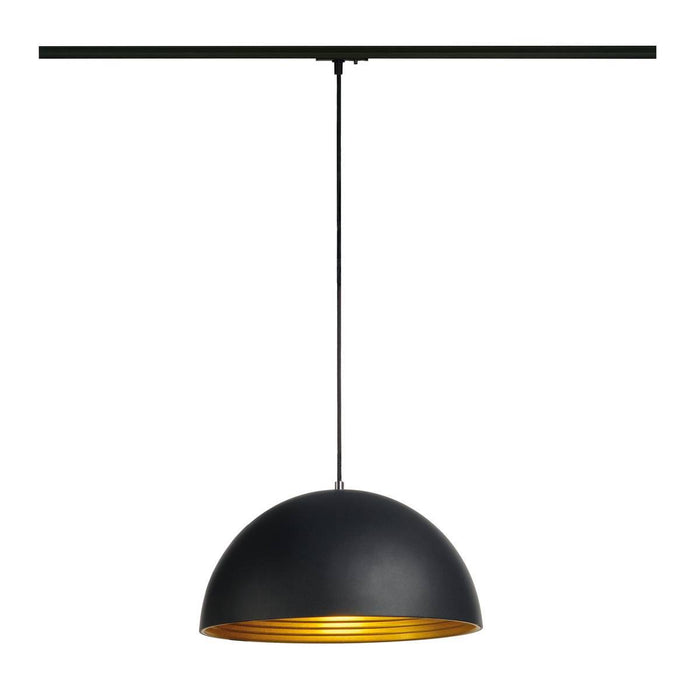 FORCHINI M pendant, 40cm, round, black/gold, E27, incl. black 1-circuit adapter