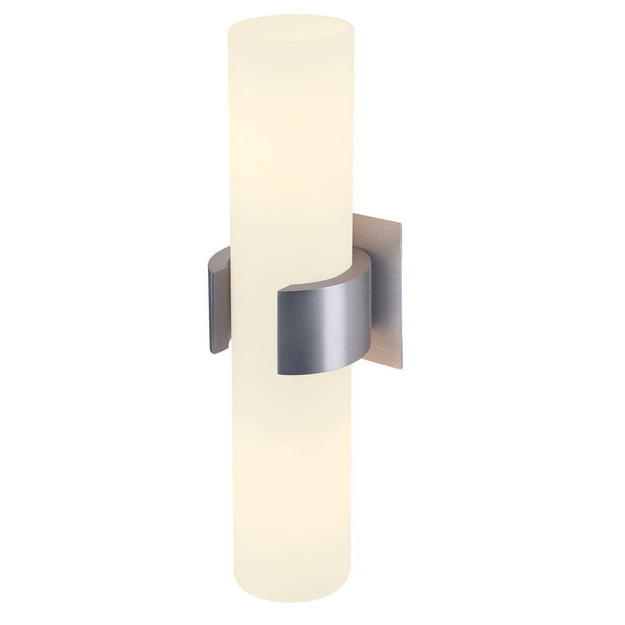 DENA II wall light, alu brushed , glass partially frosted, 2x E14, max. 2x 40W