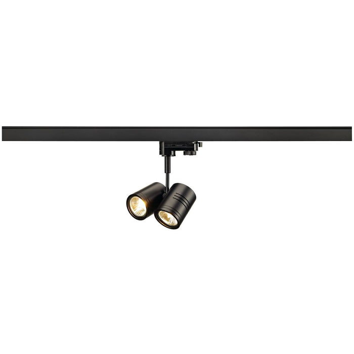 BIMA II lamp head, black, 2x GU10, max. 2x 50W, incl. 3-circuit adapter