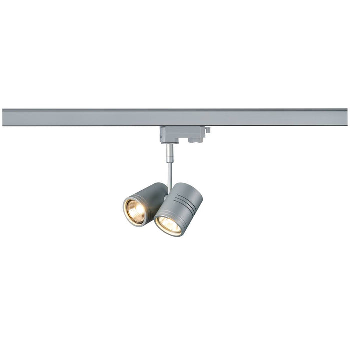 SLV SLV 152232 BIMA II lamp head, silver-grey , 2x GU10, max. 2x 50W, incl. 3-Circuit adapter 4024163092135 152232