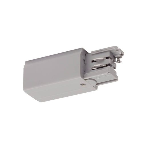 Feed-in for S-TRACK 3-phase track, Left version, silver-grey