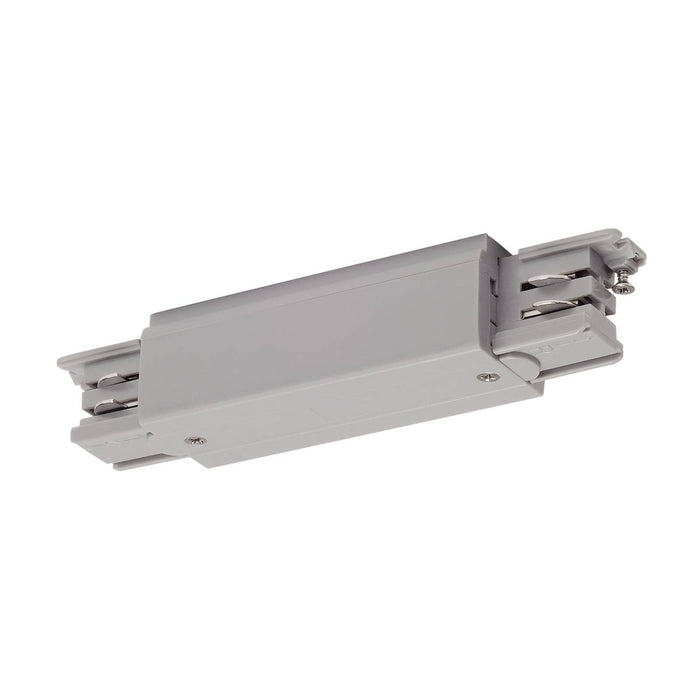 Long connector with feed-in possibility for S-TRACK 3-circuit track, silver-grey