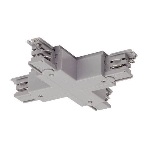 X-connector for S-TRACK 3-phase track, silver-grey