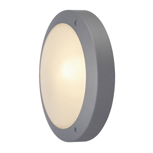 BULAN wall and ceiling light, round, silver-grey, E14, max. 60W, frosted glass