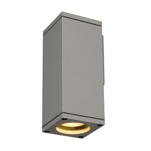THEO WALL OUT, wall light, square, silver-grey, GU10, max. 35W