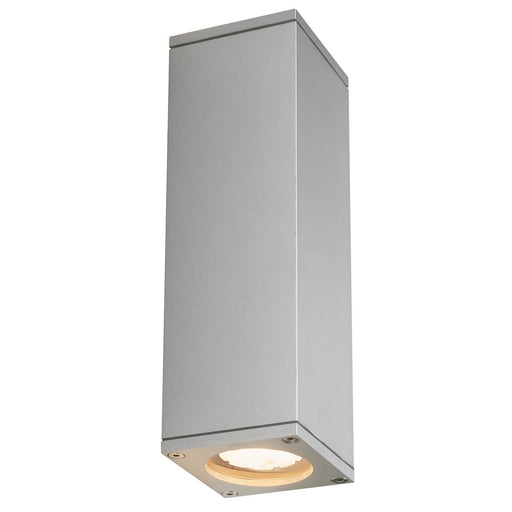 THEO UP/DOWN OUT wall light, square, silver-grey GU10, max. 2x35W