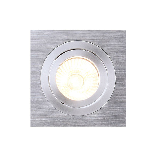 NEW TRIA I GU10 downlight, square, alu brushed, max. 50W, incl. clip springs