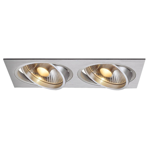 NEW TRIA II ES111 downlight, rectangular, alu brushed, GU10 , max. 2x75W, incl. clip