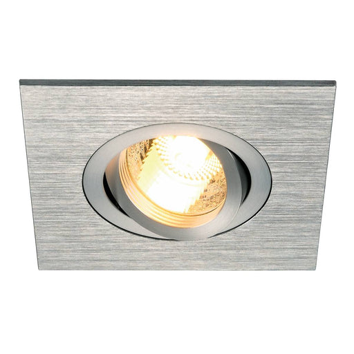 NEW TRIA XL SQUARE GU10 downlight, alu brushed, max. 50W, incl. clip springs