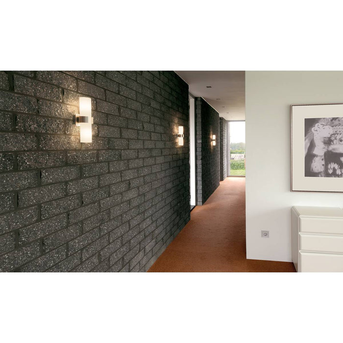 SLV 147529 DENA II wall light, alu brushed , glass partially frosted, 2x E14, max. 2x 40W