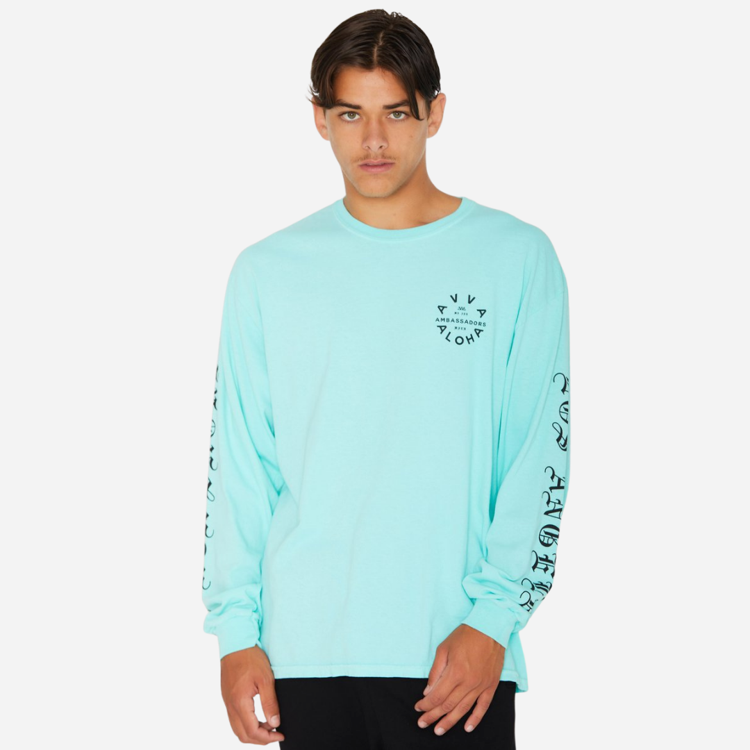 Ambassadors With Aloha - Beach Street Long Sleeve Mint Tee - Limited Edition