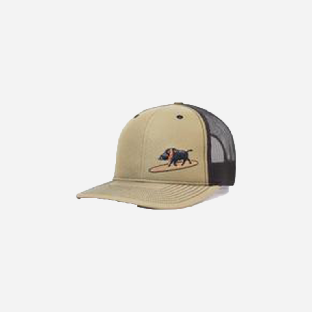 Western Aloha - Embroidered Surfing Boar Snapback (Olive)