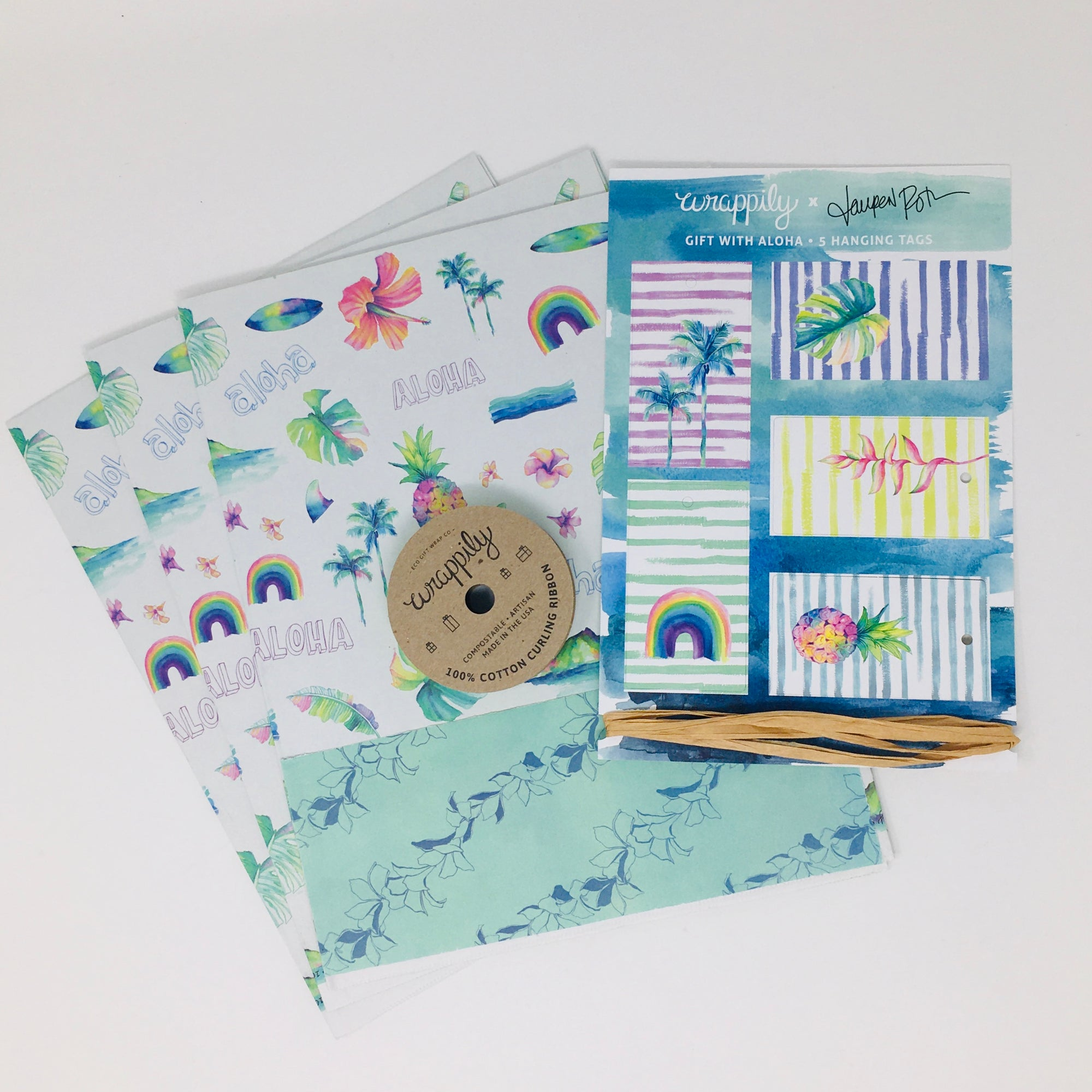 Wrappily - Wrapping Paper Bundle - Aloha Hawaii/Stringing Lei