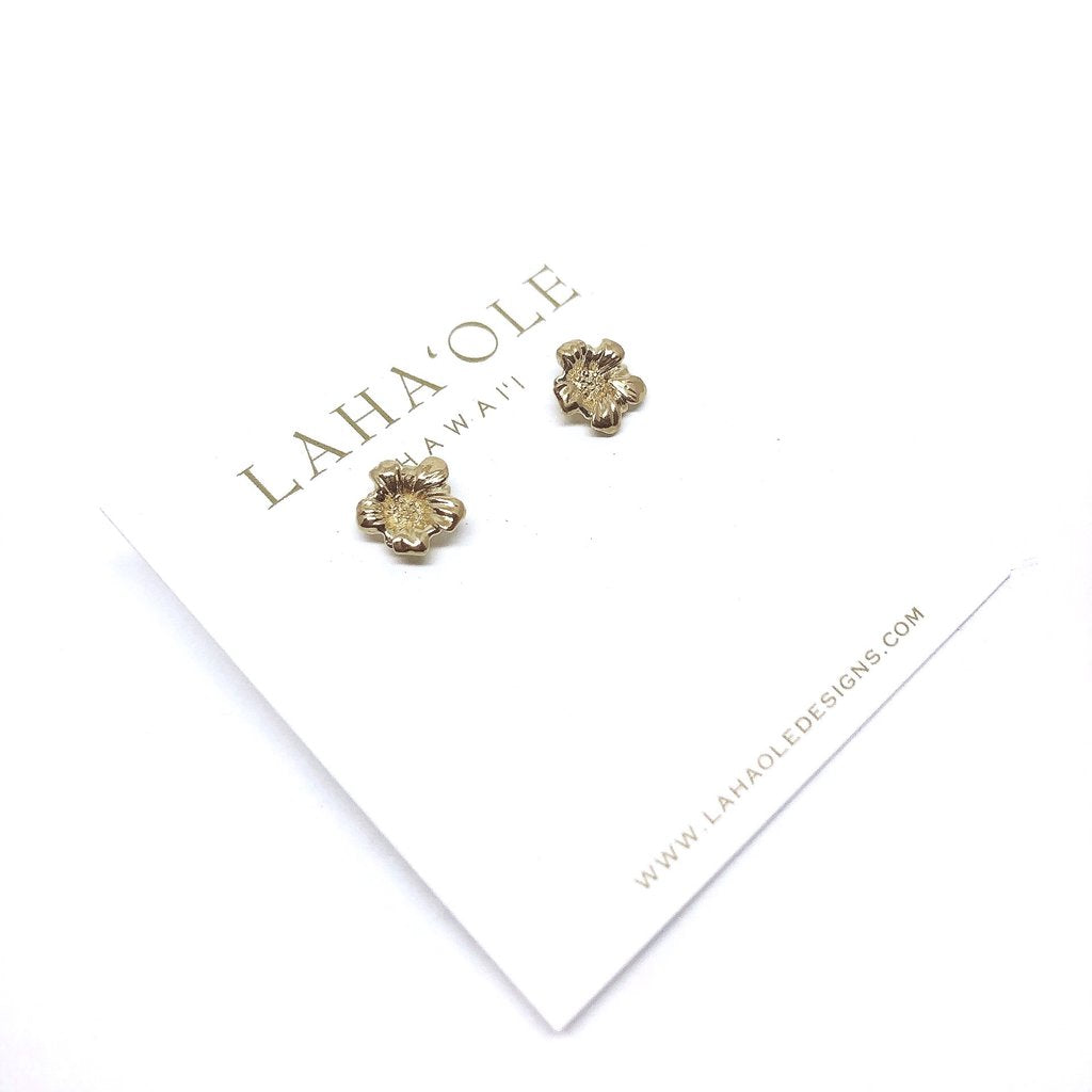 Laha'ole - 'Ilima Stud Earrings - 14k Gold Vermeil