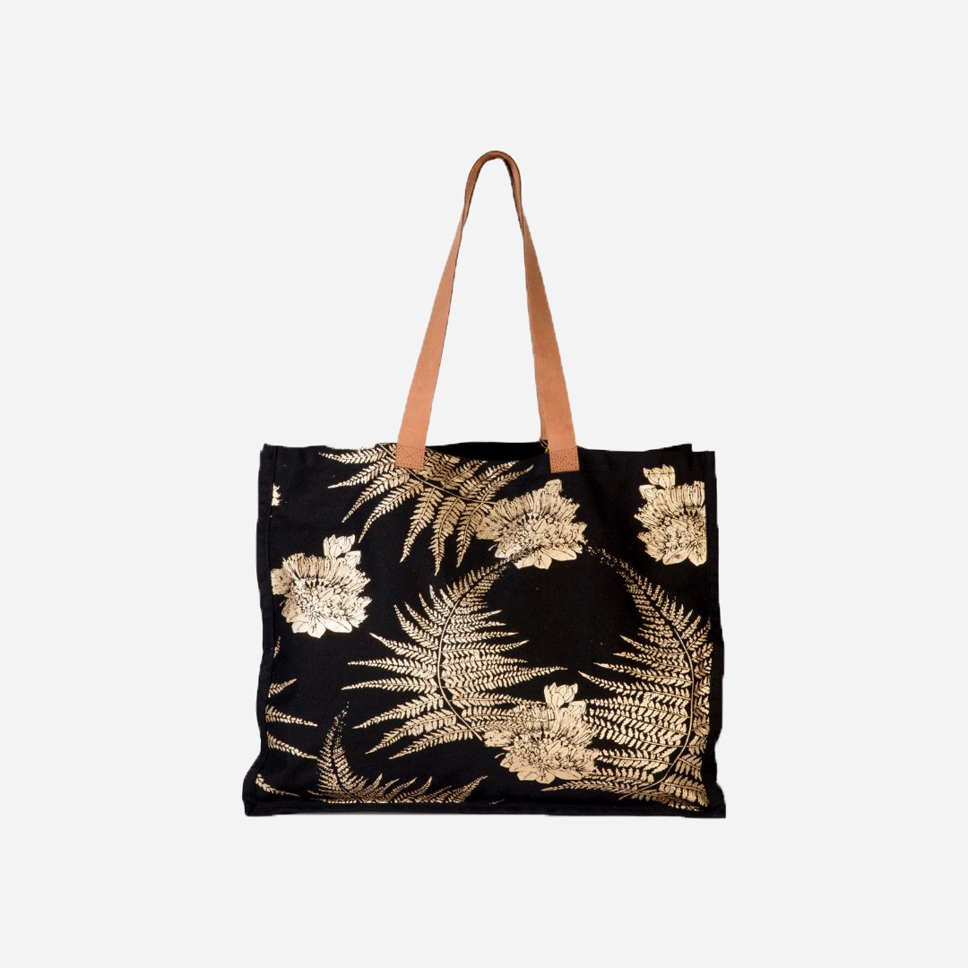 Kahulale'a - Black and Gold Palapalai Tote