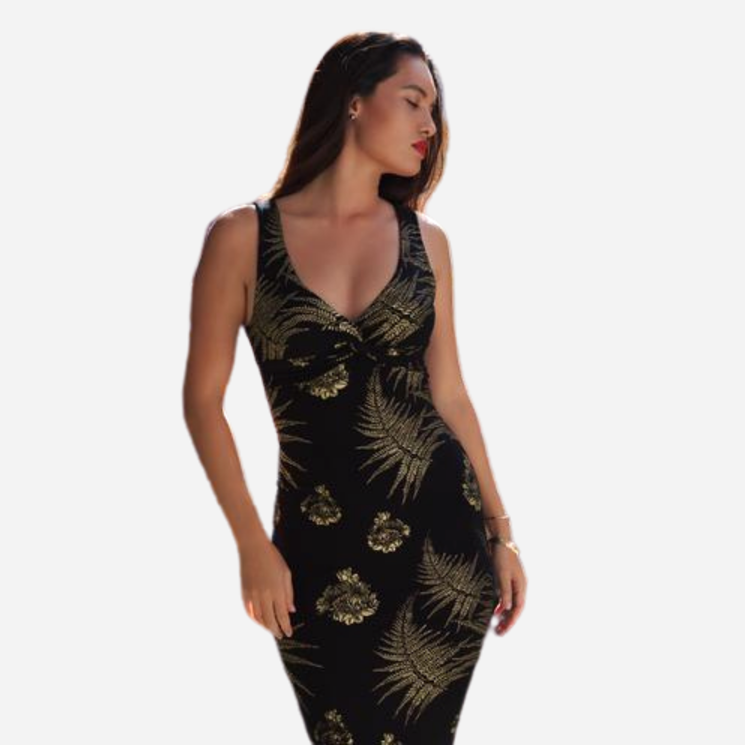 Kahulale'a - Dress Waikoloa Black and Gold Palapalai Lehua