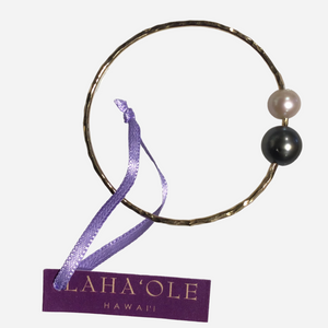 Laha`Ole Tahitian Pearl Bangle- 2 Pearls 14k Gold-filled