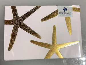 Bradley & Lily - 4-Bar Starfish Foil 6 pack of Folded Cards
