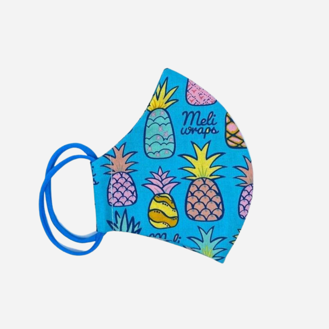 Meli Wraps - Organic Cotton Reusable Face Mask - Pineapple