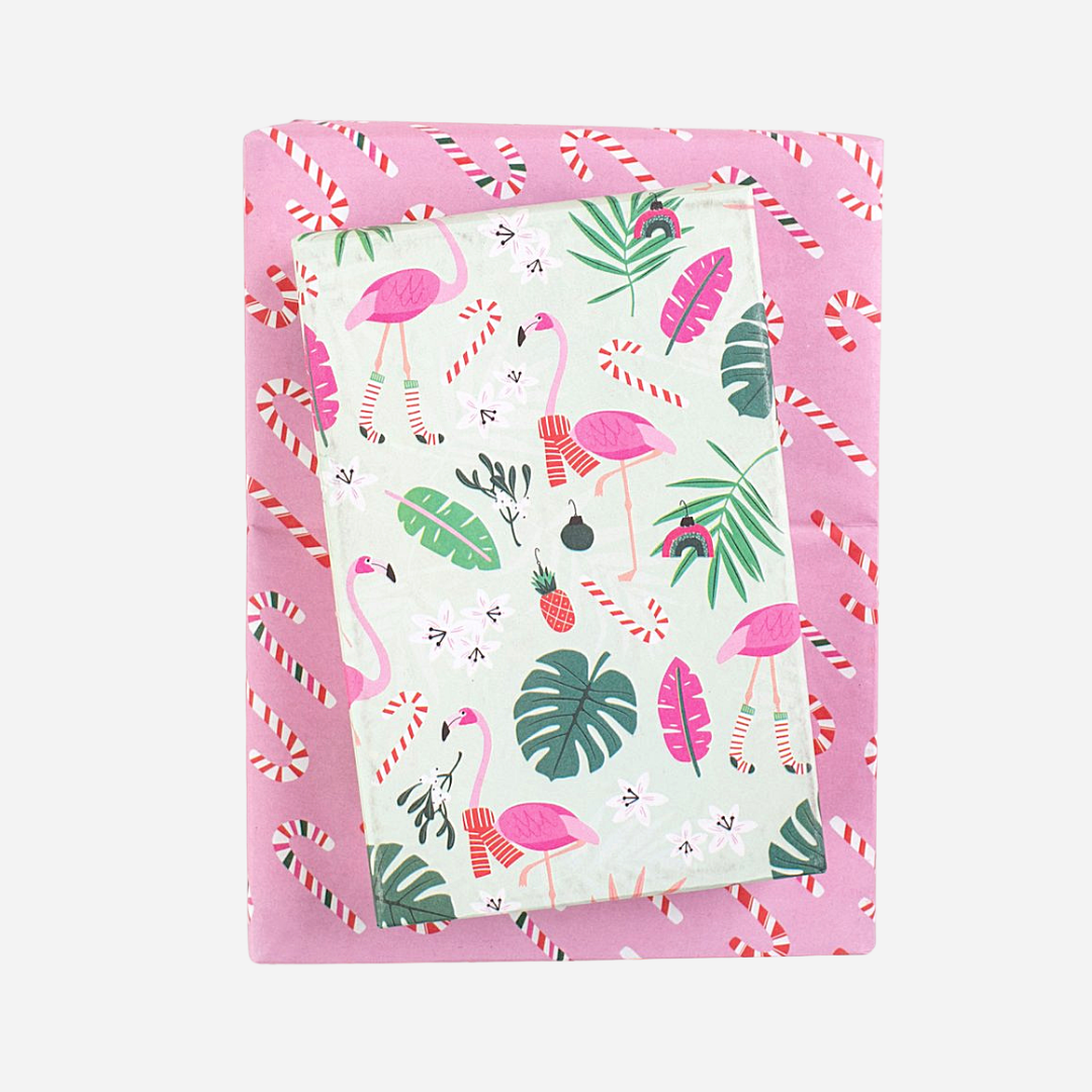 Wrappily - Wrapping Paper Bundle - Feliz Flamingos/Candy Canes