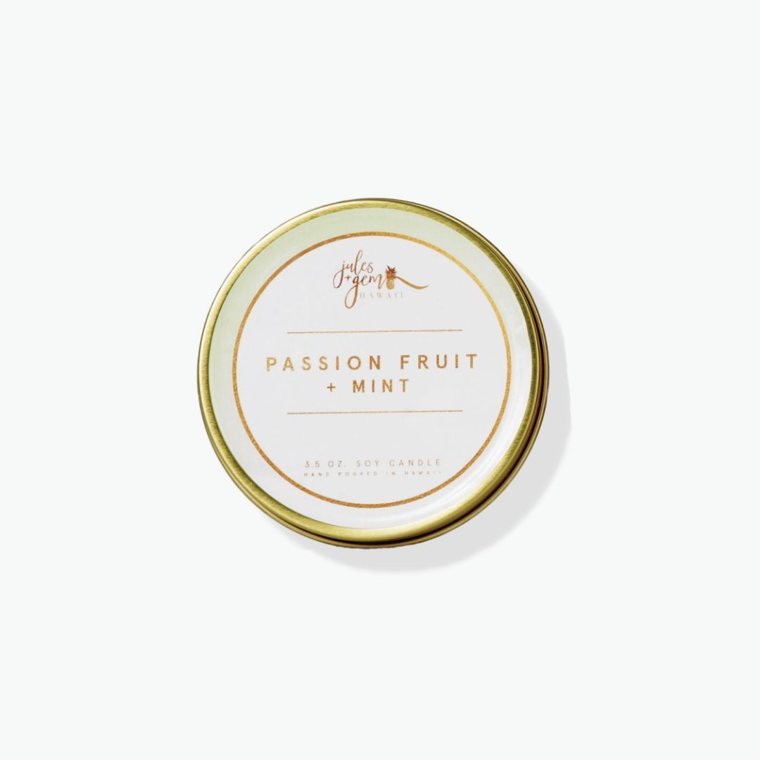Jules + Gem - 3.5 oz Soy Candle Travel Tin - Passion Fruit + Mint