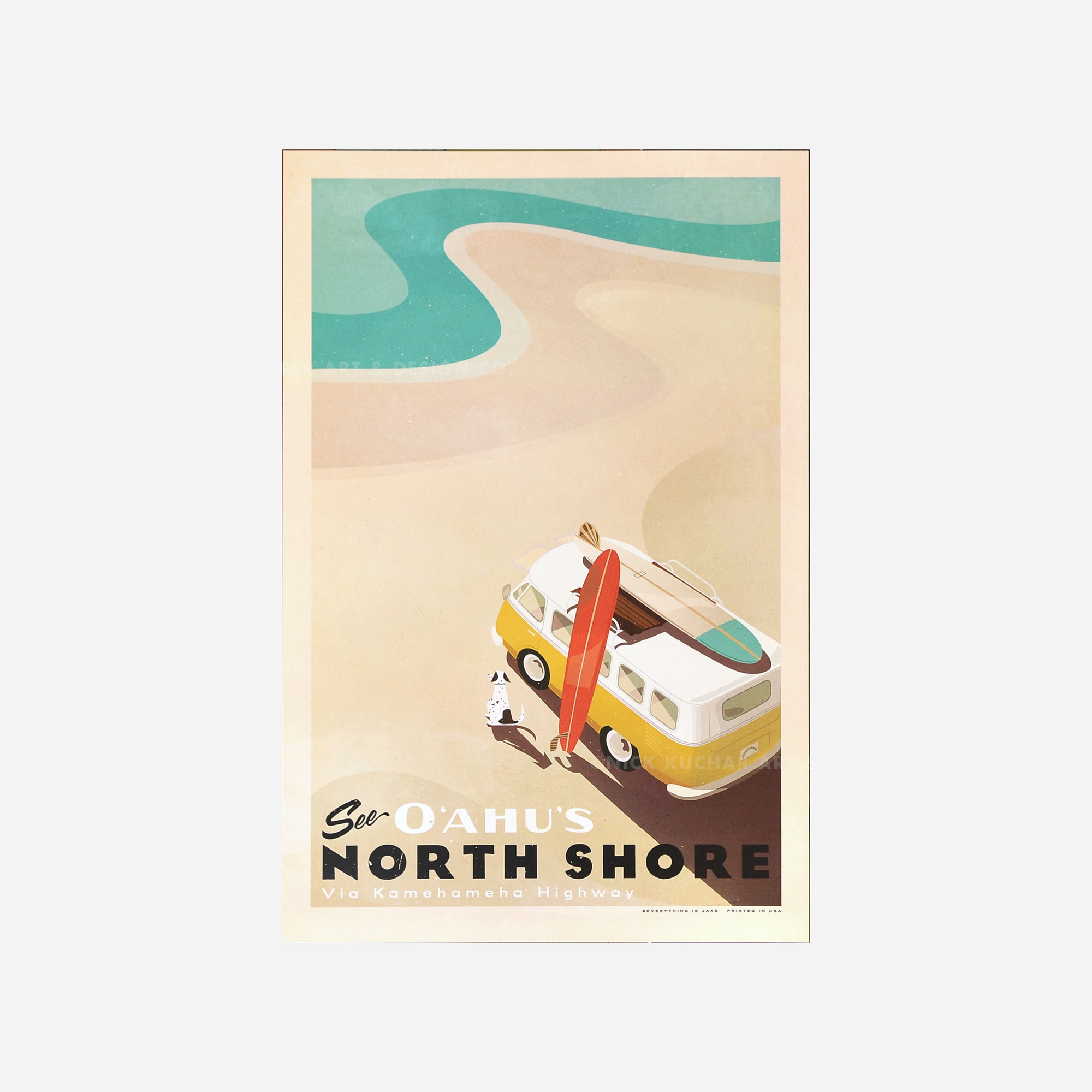 Nick Kuchar Travel Poster - See Oahu's North Shore