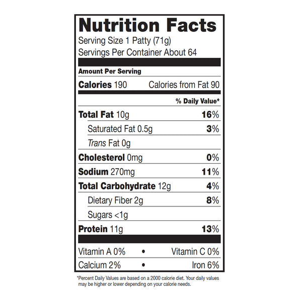Dr. Praeger's SSCIN25 Breaded Chickenless Patties Nutrition Facts Panel