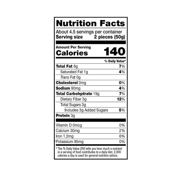 Dr. Praeger's Chocolate Chip Oaties Nutrition Facts Panel Image