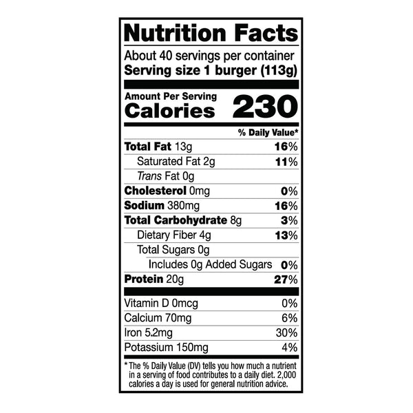 Dr. Praeger's PVBPBIN4 Perfect Burger Nutrition Facts Panel