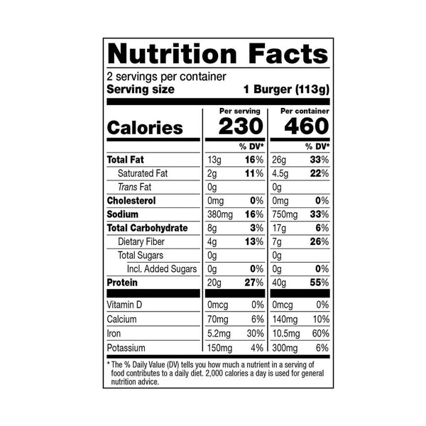 Dr. Praeger's Perfect Burger Nutrition Facts Panel Image