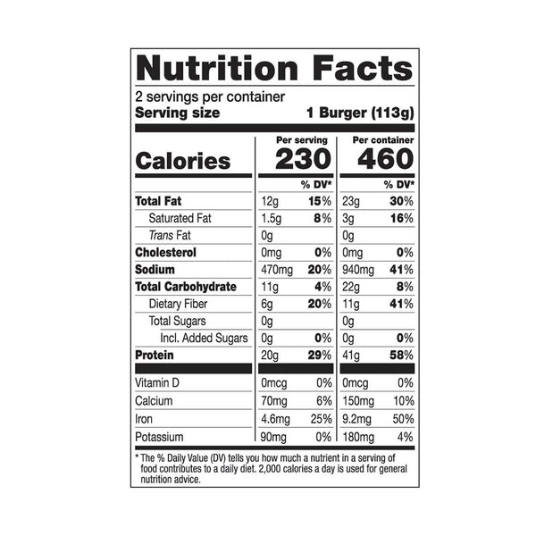 Dr. Praeger's Perfect Turk'y Burger Nutrition Facts Panel Image