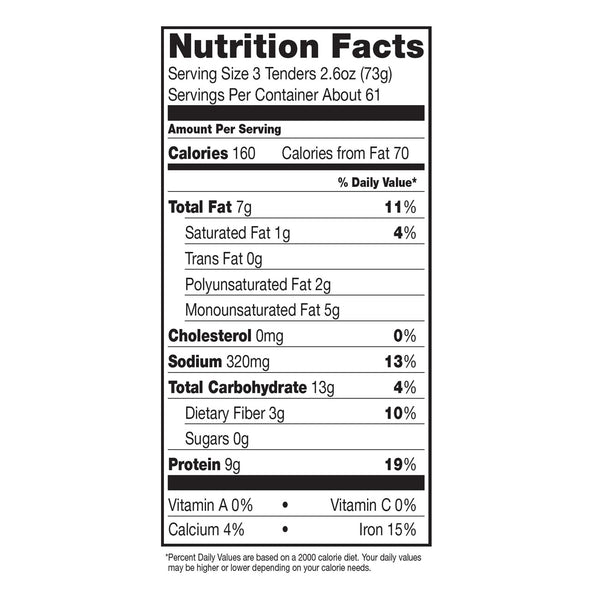Dr. Praeger's SCTDIN Breaded Chickenless Tenders Nutrition Facts Panel