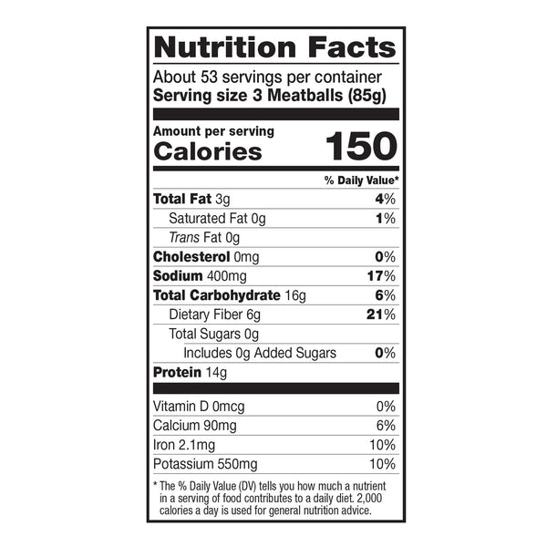 Dr. Praeger's SMBIN Vegan Meatballs Nutrition Facts Panel
